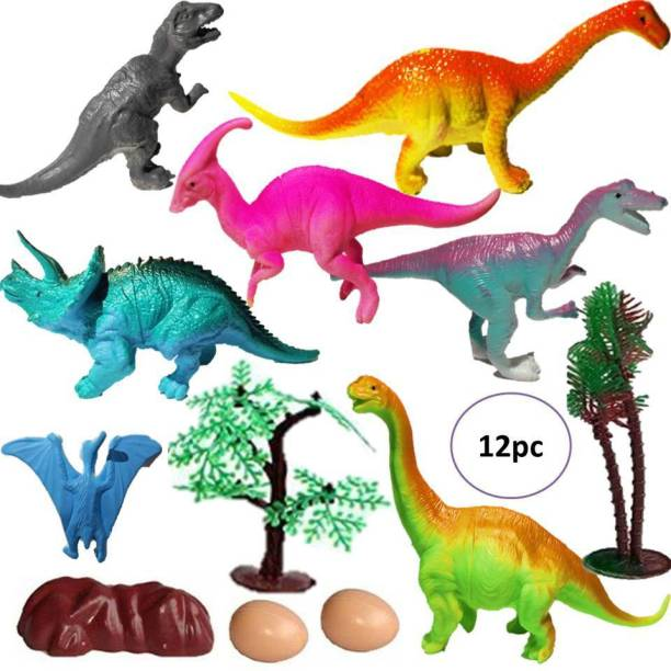 Mallexo Realistic Dinosaur Toy Set for Kids Play Safely Jurassic World Toy Set of 12PCS Dinosaur Toy for Kids Multi-Colored Animal Action Figure ( dianasour Action Figure- Animal Toys for Kids )