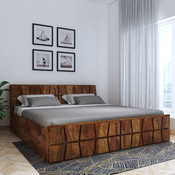 House of Pataudi Sheesham Wood King Size Bed with Box Storage for Bedroom (Teak Finish) Solid Wood King Box Bed