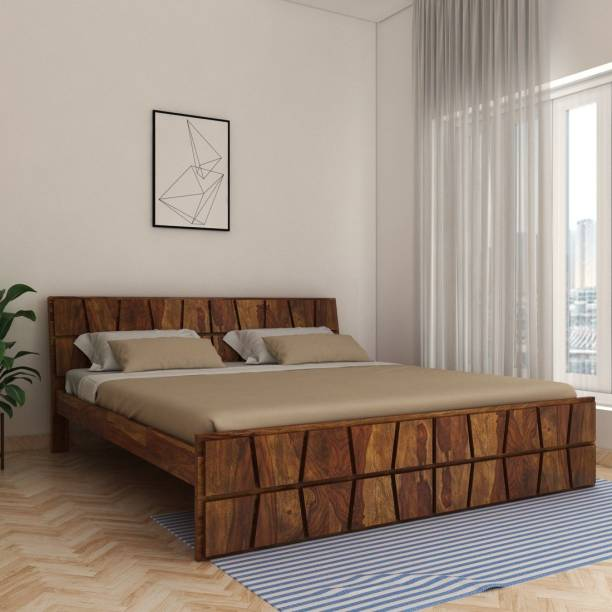 House of Pataudi Sheesham Wood King Size Bed for Bedroom (Teak Finish) Solid Wood King Bed