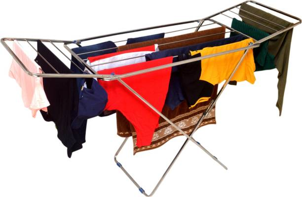 kts Steel Floor Cloth Dryer Stand Stainless Steel Foldable Cloth Dryer Stand | Double Rack Cloth Stands for Drying Clothes | Heavy duty | Drying Rack | Cloth Dryer Stand for Balcony and Terrace Bed Type for Extra Sunlight Exposure for Cloth Space Saving | High Quality Stainless steel Rod Fordable Bed Style Heavy Gauge | UV Resistant and Rush proof
