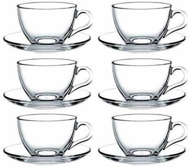 TOY POINT Pack of 6 Glass Cup Tea & Coffee classic Cup Set in (6 Pcs Set) 140Ml