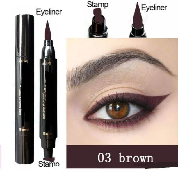 Three Elements Winged eyeliner stamp waterproof smudge proof double sided eyeliner makeup cosmetic brown colour 10 ml