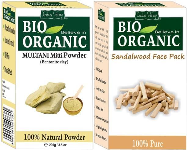 Indus Valley BIO Organic Multani Mitti & Sandalwood Face Pack Powder Combo Set