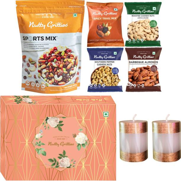 Nutty Gritties Signature Gift Box Sports Mix + Roasted Salted Cashew Nuts + Spicy Trail Mix + Barbeque Almonds + Southern Pepper Cashew Nuts, Combo