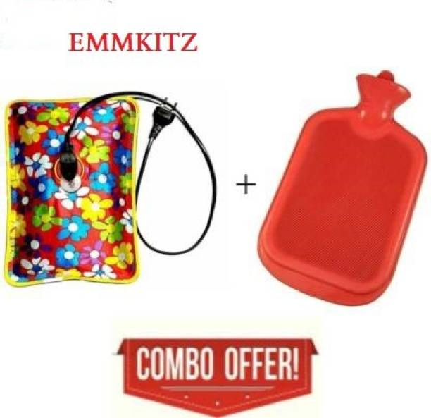 EMMKITZ Combo of 1 Ltr Hot Water Bag with Electric Heating Gel Pad and Non Electrical 2 L Hot Water Bag / Hot Rubber Water bottle (Red) Heating pad 3 L Hot Water Bag (Multicolor) EMM COMBO 2 L Hot Water Bag