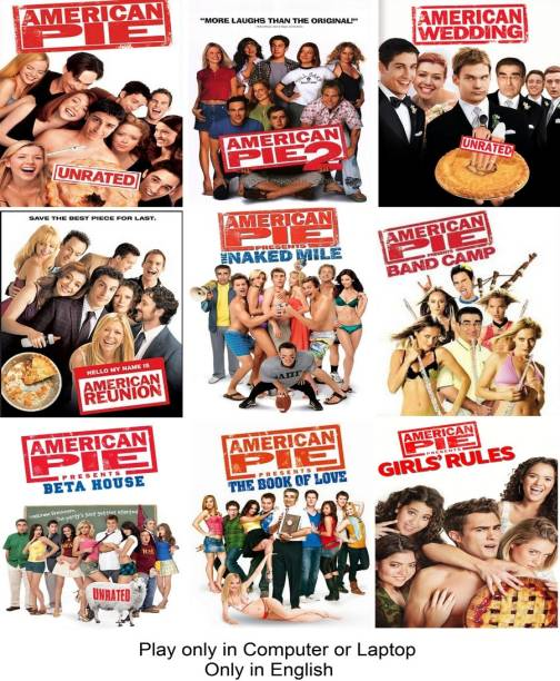 American Pie Series (9 Movies)(American Pie Presents: Girls' Rules, The Book of Love, Beta House, Band Camp, The Naked Mile, American Reunion, American Wedding, American Pie 1 & 2) only in English it's burn data DVD play only in computer or laptop it's not original without poster