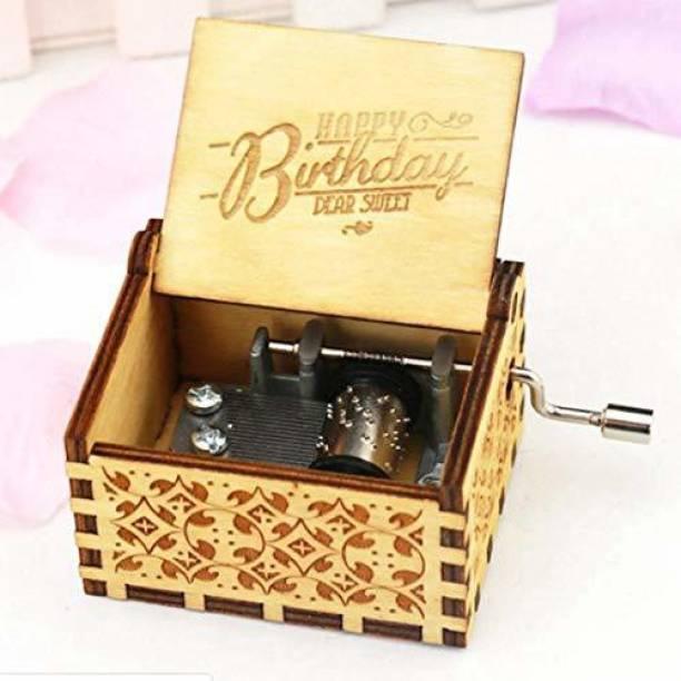 Ace Hand-Cranked Wooden Music Box - Happy Birthday Music Box