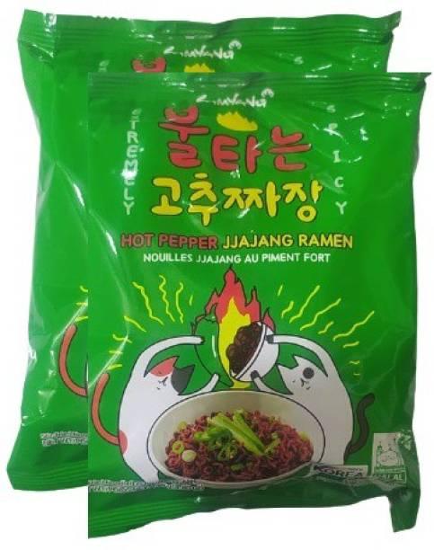 Samyang Hot Pepper Jjajang Spicy RamenNoodles -136gm (Pack of 2) (Imported) Instant Noodles Non-vegetarian