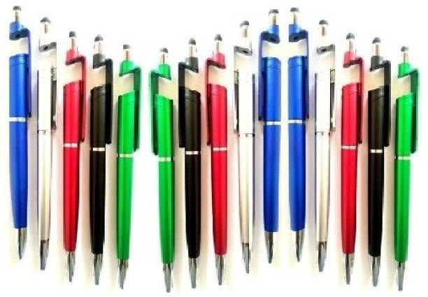 MMT AND 3 IN 1 MULTIFUNCTION AND STYLISH MULTICOLOR TUOCH AND MOBILE HOLDER BALL PEN (PACK -OF 15) Ball Pen