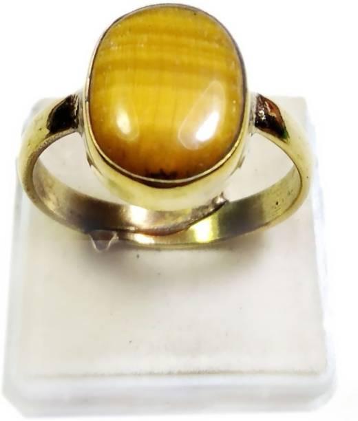 arjun navratn Certified Natural Tiger's Eye Stone 8.25 Ratti Origional Chiti Unheated and Untreated Rashi Ratna Gemstone for Men and Women Brass Gold Plated Ring Brass Ring