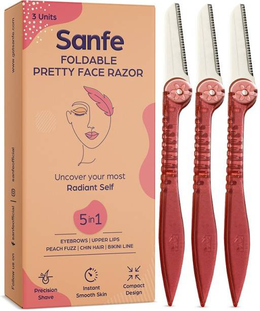 Sanfe Foldable Pretty Face Razor for pain-free facial hair removal (3 units) - upper lips, chin, peach fuzz - Stainless steel blade, firm grip