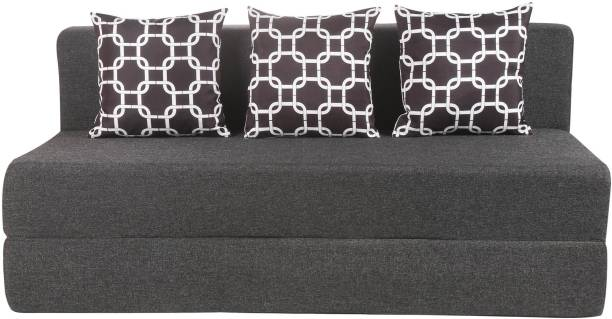 Solis Primus-comfort for all 5X6 Size Sofa cum Bed for 3 Person- 3 Seater Jute Fabric Washable Cover with 3 Cushion (Multi Chain) - Dark grey Single Sofa Bed