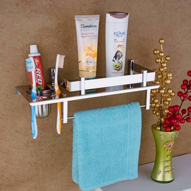 OSIOUS Stainless Steel 3 in 1 Bathroom Shelf/Rack/Towel Hanger/Toothbrush Holder/Towel Rod/Bathroom Accessories Stainless Steel Toothbrush Holder 15 inch 1 Bar Towel Rod