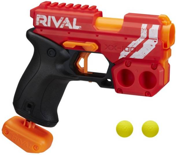 Nerf Knockout XX-100 Blaster -Team Red, Round Storage, 85 FPS Velocity, Breech Load -- Includes 2 Official Rival Rounds Guns & Darts