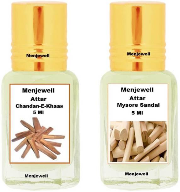 Menjewell Pack of 2PC Attar (Chandan-E-Khaas 5ML,Mysore sandal 5ML)Natural Itra/Attar/ Floral Attar