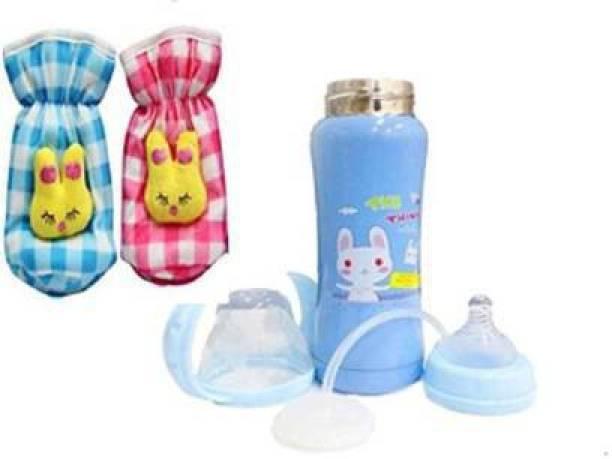 little monkeys Multifunctional Baby Steel Feeding Bottle 3 in 1 - 240 ml blue printed