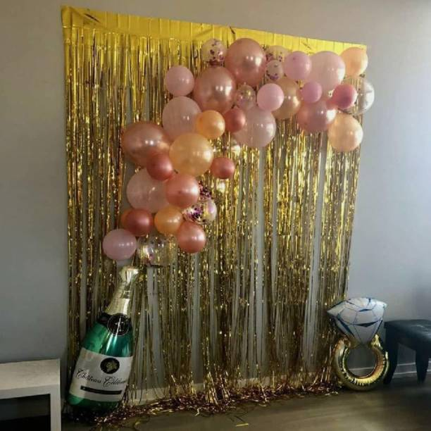 CherishX.com Solid Happy Birthday Pink balloons Kit with a Champagne and ring foil balloons, A Golden foil curtain Balloon