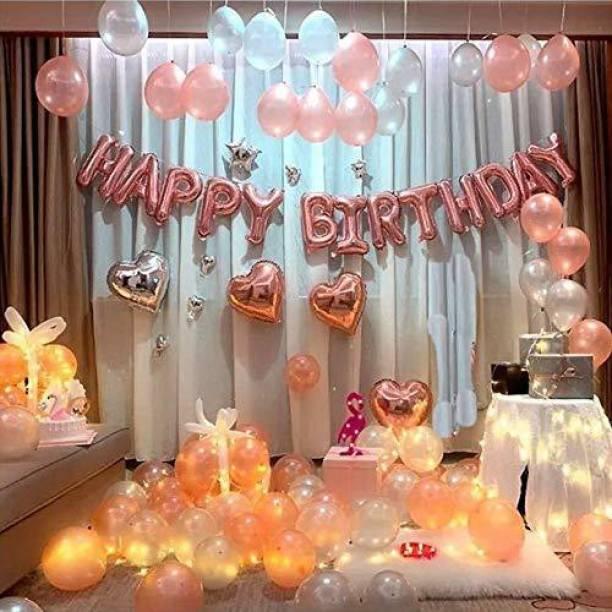 CherishX.com Solid Rose Gold Birthday Decoration Items - 68pc Combo - 13pc Happy Birthday Letters, 4 pc Heart Shape Silver & Rose Gold, 50 pc Silver & Rosegold Metallic Balloons & 1pc LED Fairy Light Balloon