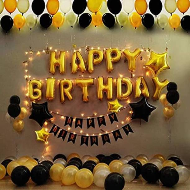 CherishX.com Solid Birthday Decoration Kit with Golden Happy Birthday, Star Foil Balloons, LED Light, Mettalic Black, Silver Balloons - 155 Items Combo - Best for Boy or Husband Birthday at Home or Bedroom Balloon