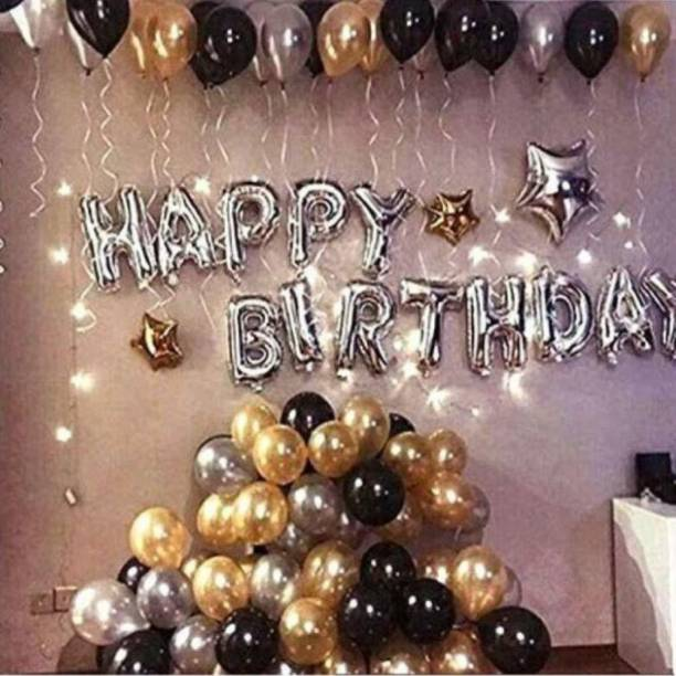 CherishX.com Solid Happy Birthday Golden and black balloons Kit with a Silver Happy Birthday Foil balloon and Star foil balloons Balloon