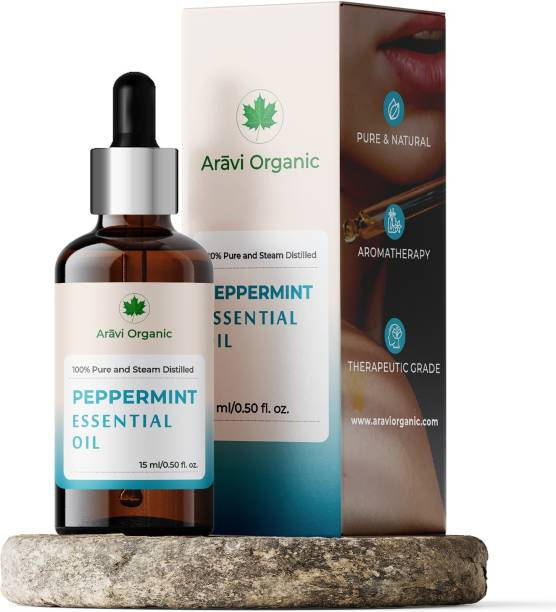 Aravi Organic Peppermint Essential Oil | 100% Pure, Undiluted, Natural , Therapeutic Grade & Aromatherapy Peppermint Oil for Diffuser, Burner, Topical, Useful for Hair Growth, Skin, Home Office, Indoor, Mentha Piperita, Mint Scent, Mint Oil