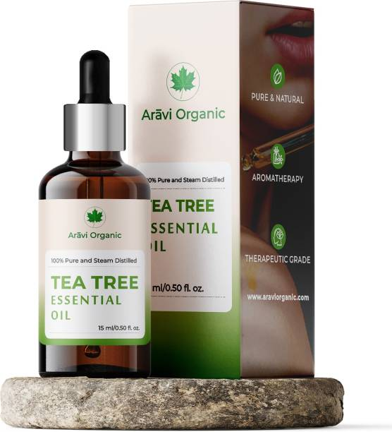 Aravi Organic Tea Tree Essential Oil | 100% Natural & Pure Tea Tree Oil for Skin Acne, Pimple, Face, Hair | Undiluted, Natural Aromatherapy, Therapeutic Grade