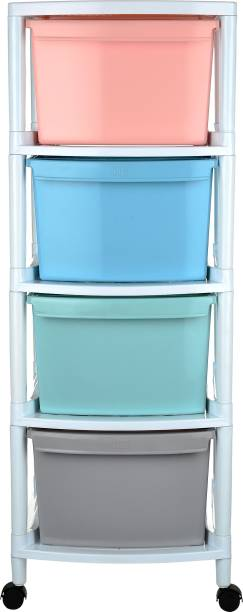 Regalo Large Modular 4 Cabinets With Wheels Made of Virgin Plastic Free Standing Chest of Drawers
