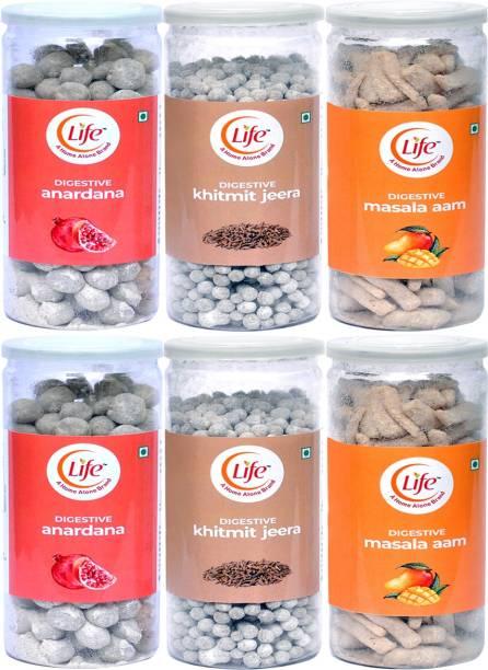 Life Anardana (200g), Khitmit Jeera(220g), Masala Aam(200g) Digestive Candy Pack of 6 Candy Cumin, Pomegranate, Mango, (Combo Pack 1240g) Cumin, Pomegranate, Mango, Anardana, Khitmit Jeera Candy