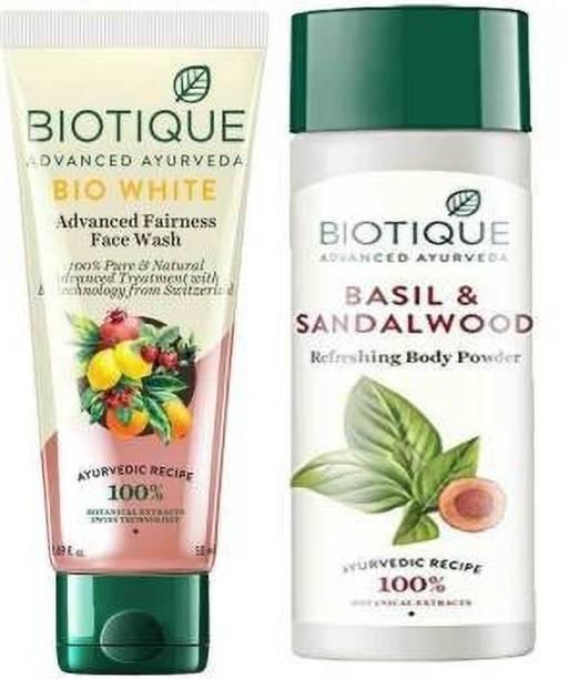 BIOTIQUE Skin Brightening Kit - White Face Wash ,100ml & Basil and Sandalwood Refreshing Body Powder ,150GM
