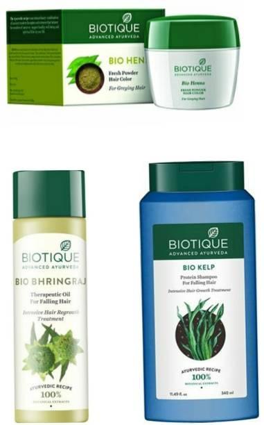 BIOTIQUE Hair care kit (Bio kelp Shampoo+ Bhingraj oil+ heena powder)