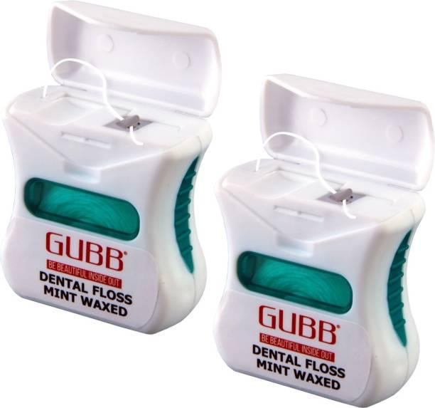GUBB Dental Floss Thread Mint Waxed 50M Pack of 2