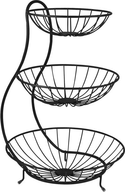 SMART SLIDE 3 Tier Steel Fruit & Vegetable Basket for Kitchen - Fruit Basket for Dining Table - Fruit & Vegetable Storage Basket – Kitchen Fruit & Vegetable Stand – Counter Top Fruit Rack Steel Fruit & Vegetable Basket