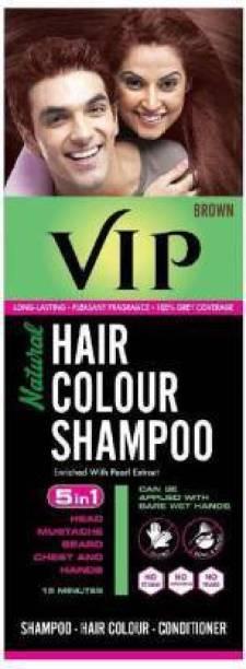 VIP NATURAL HAIR COLOUR SHAMPOO 180 ML , Brown