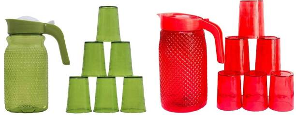 Techhark Jug with Beautiful 6 Pieces Glasses Set for Juice/Water Serve (Combo Of Red and Green Jug With Glass) Jug Glass Set