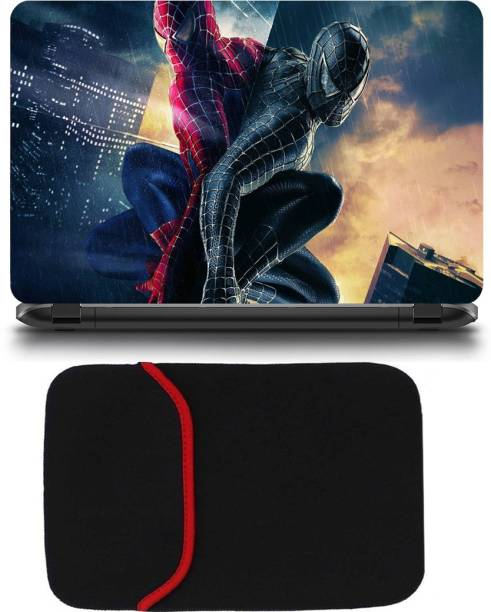 D.V TECH EXCLUSIVE PACK OF SPIDER MAN AND LAPTOP BAG 15.6INCH LAPTOP SKIN BUBBLE FREE LAPTOP SKIN Combo Set