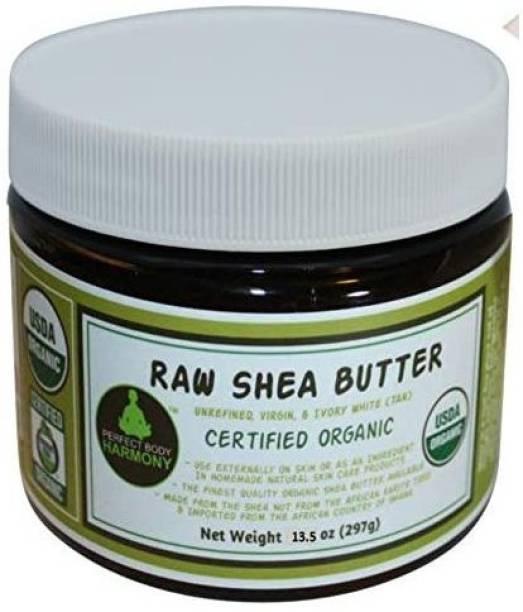 Perfect Body Harmony Unrefined Raw Shea ButterCertified Organic; Premium, Imported African Ivory(Tan); 13.5 oz Lg Dark BPA Free JAR; Mois