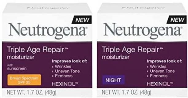 NEUTROGENA Triple Age Repair Anti-Aging Night Face & Neck Cream Day & Triple Age Repair Anti-Aging Daily Facial Moisturizer with S