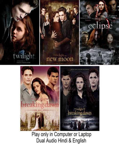 Twilight Film series (5 Movies of Twilight) in Hindi & English it's DURN DATA DVD play only in computer or laptop it's not original without poster HD print quality