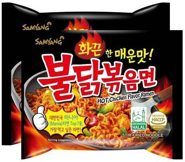 Samyang Hot Chicken Ramen Noodles -140 g (Pack of 2) (Imported) Instant Noodles Non-vegetarian