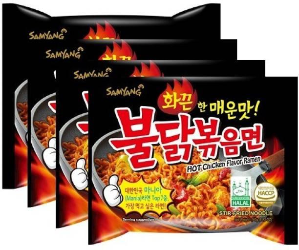 Samyang Hot Chicken Ramen Noodles -140 g (Pack of 4) (Imported) Instant Noodles Non-vegetarian