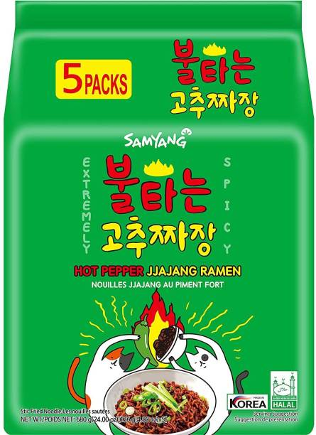 Samyang Hot Pepper Jjajang Spicy RamenNoodles -136X5 (Pack of 5) (Imported) Instant Noodles Non-vegetarian