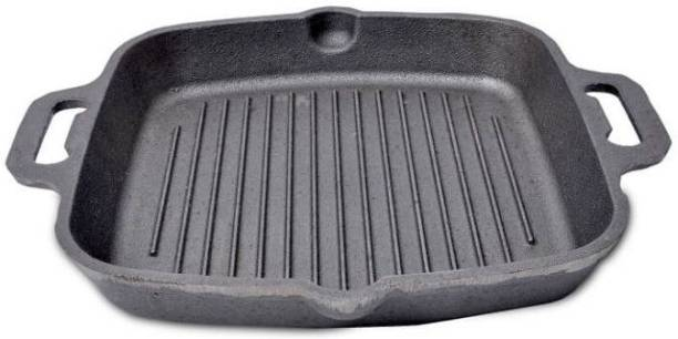 The Indus Valley Preseasoned Super Smooth Cast Iron Grill Pan with Double Handle Grill Pan 29 cm diameter 1 L capacity