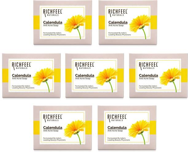 RICHFEEL Anti Acne Soap with Calendula Extracts (Pack of 7)