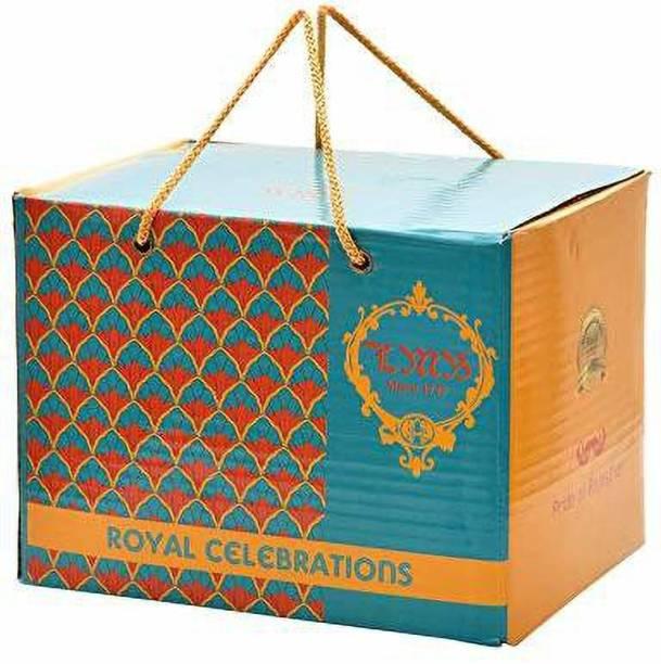 laxmi misthan bhandar Royal Celebration Hamper Combo Box : Besan Laddu 400gm; Mix Dry Fruit Cookies 150 gm; Dalmoth 150gm; Loung Bhujia 200gm Combo