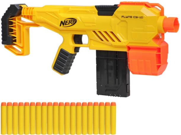 Nerf Alpha Strike Flyte CS-10 Motorized Blaster, 10-Dart Clip-Fed Blasting, 20 Darts, Kids, Teens, Adults Guns & Darts