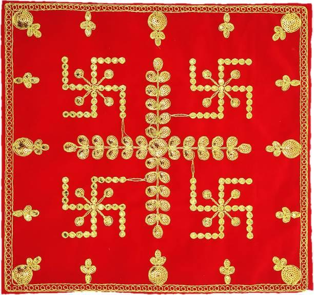 "Bhakti Lehar Swastik Design Red Velvet Puja Cloth / Pooja Aasan Kapda / Embroidered Puja Chowki Cloth for Home Mandir, Temple, God & Goddess Assan ( Size: 15"" X 15"" Inch ) Altar Cloth"