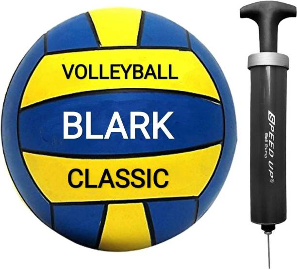 blark CLASSIC VOLLEYBALL PU MATERIAL WITH BLACK AIR PUMP Volleyball - Size: 4