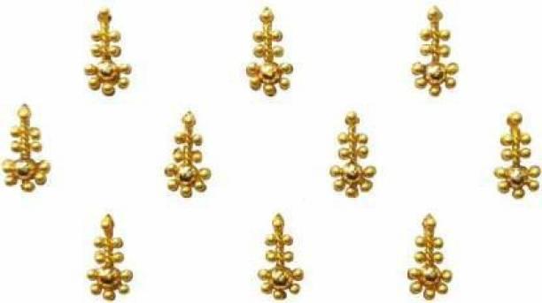 Deepali parlour Beautiful Golden Bridal Bindi Forehead Gold Bindis (Indian Traditional Designer Bindi) Forehead Gold Bindis