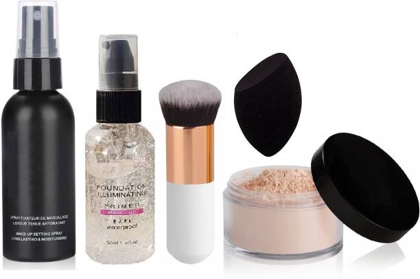 Vedy SPRAY MOISTUIRIZING HYDRATING LONG LASTING BASE FIXER PRIMER -100 ML (TRANSPAARENT),NEW REVOLUTION FOUNDATION ILLUMINATING WATER PROOF MAKEUP BASE PRIMER,MINERALIZE LIGHT PLUS LOOSE POWDER FOUNDATION SPF 15,MAKEUP COSMETIC FACE POWDER, FOUNDATION/BLUSH BRUSH (WHT),HYDRO-ACTIVATED HIGH PREMIUM QUALITY MAKEUP BEAUTY BLENDER FOR PROFESSIONALS