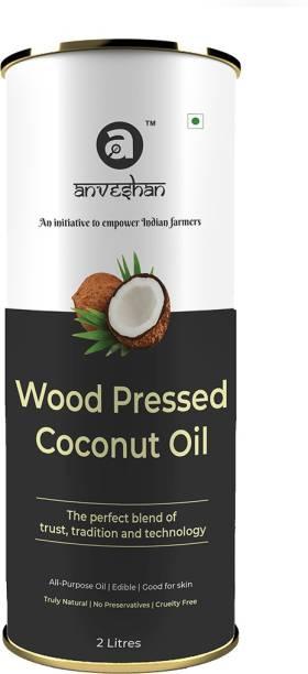Anveshan Wood Pressed Coconut Oil, (Pure Kolhu/ Kachi Ghani/ Wooden Chekku Tel) Coconut Oil Tin